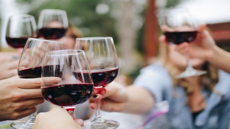Women on a bachelorette weekend sampling wine.