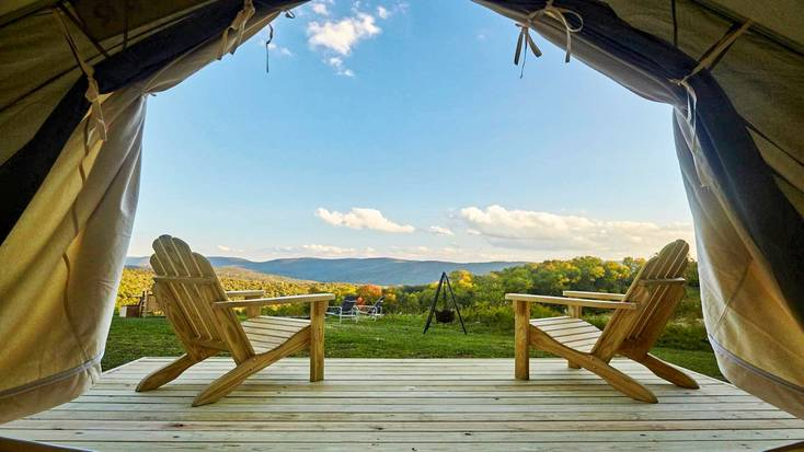 View of the mountains from inside a Upstate New York safari tent.