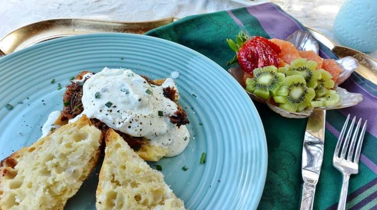 Breakfast plate on a bachelorette party weekend.