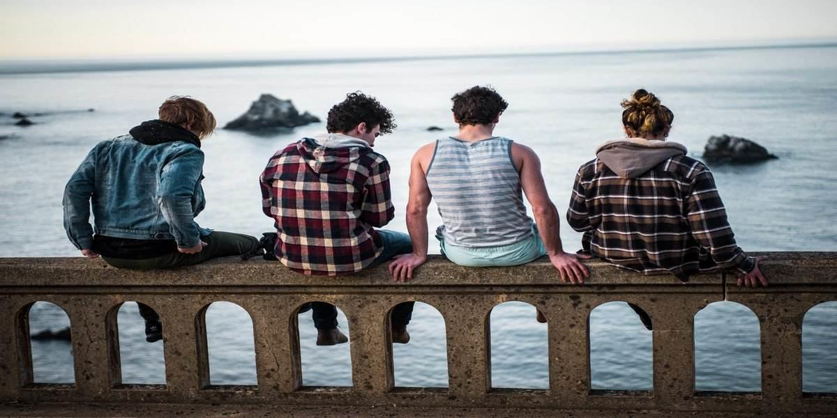guys enhjoying outdoor luxury camping trip
