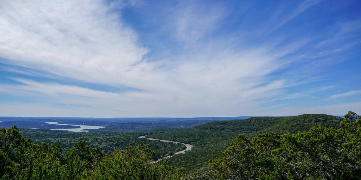 Texas Hill Country landscape view: TX getaways