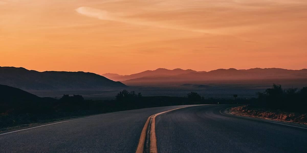 Sunset over a California highway