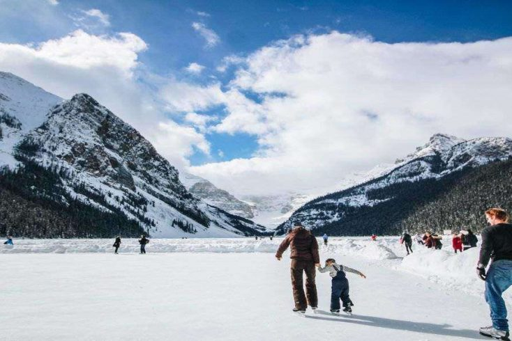 Image of family on the ice enjoying some of the best winter vacations in the US for the year of 2020