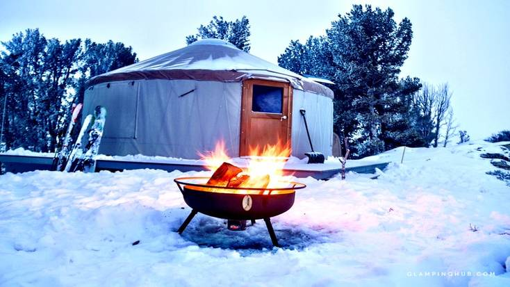 Go skiing in Nevada with this yurt tent surrounded by snow in Ruby Mountains
