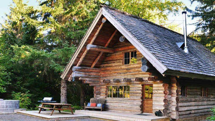Entrance to a romantic cabin rental in British Columbia.