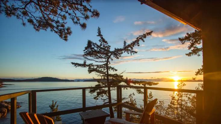 View of the ocean from this romantic cabin rental on the Sunshine Coast, BC.