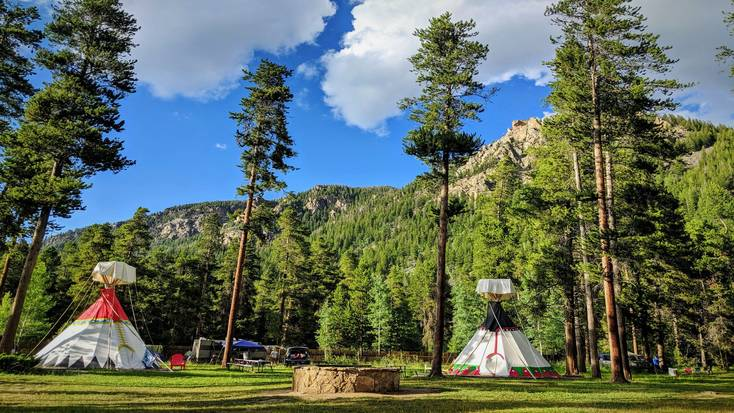 Enjoy a stay in this traditional tipi rental on Lake Granby, Colorado