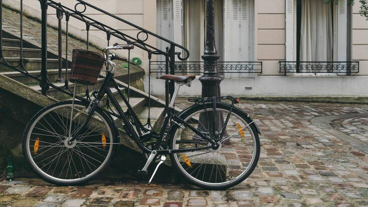 Bicycle stood in the best places to visit in Paris