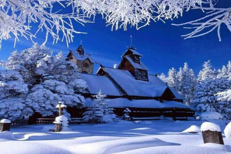 A rustic property in a snow covered forest, another one of the best gifts for boyfriends parents in 2020