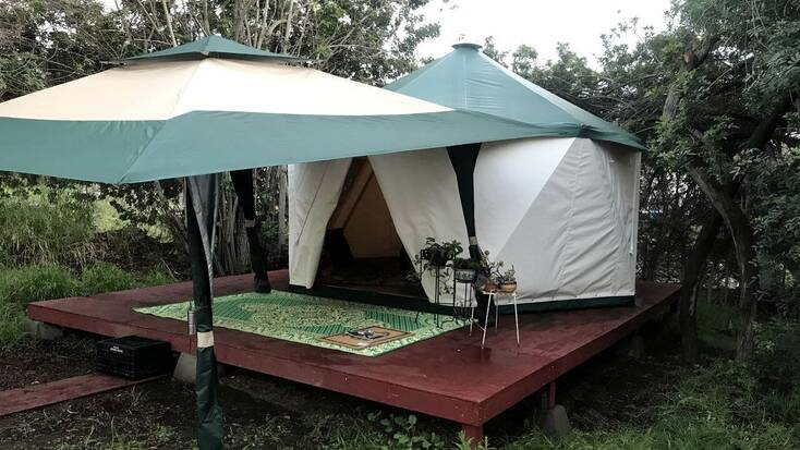 Exterior of luxury yurt rental: California camping trips