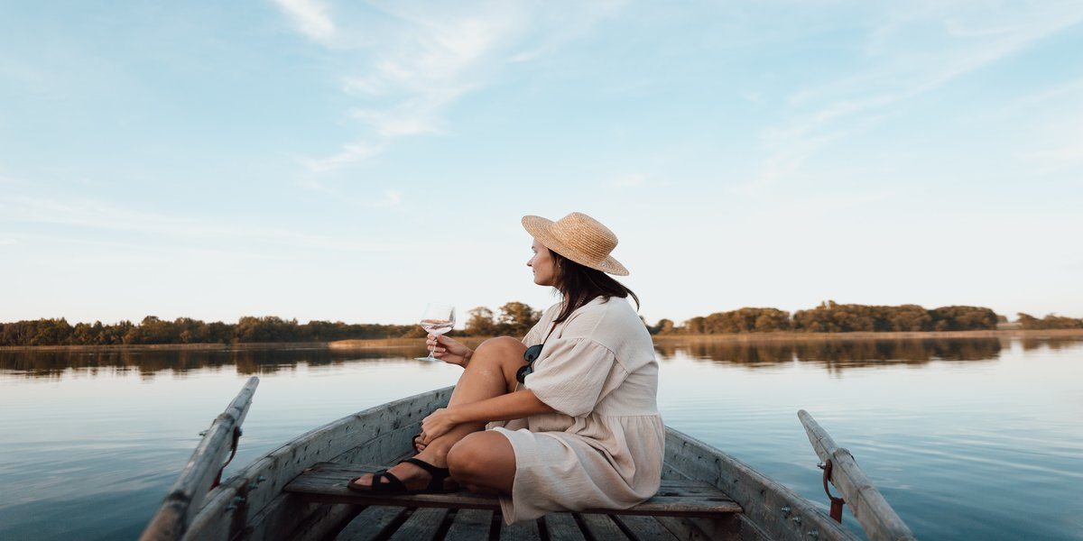 woman during luxury camping trip abroad