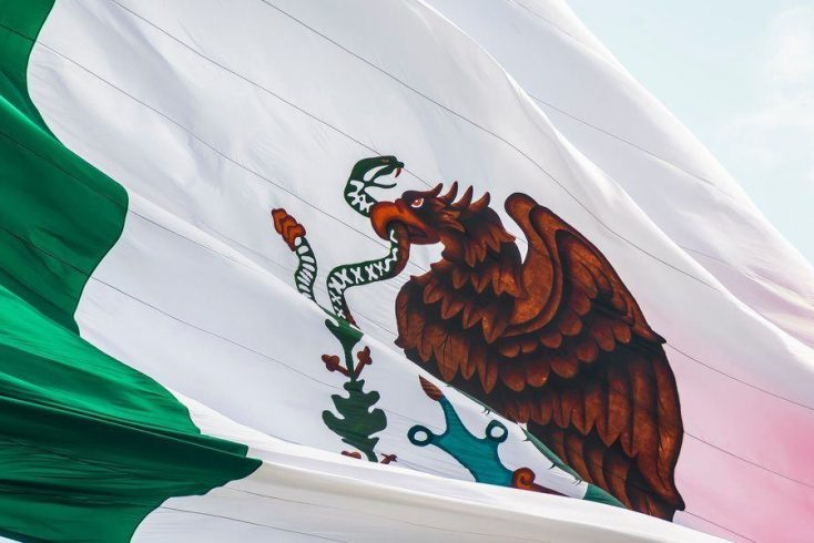 the mexican flag blowing in the wind for Cinco de Mayo