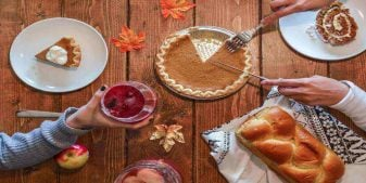 Food spread on table for Thanksgiving weekend