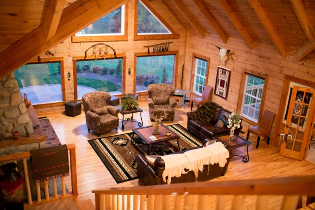 Log cabin on a working ranch in Missouri