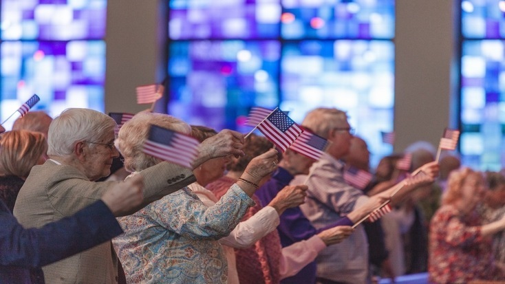 Seniors during a independence day parade