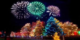A building surrounded by Christmas trees with Christmas lights, and a fireworks display in the background