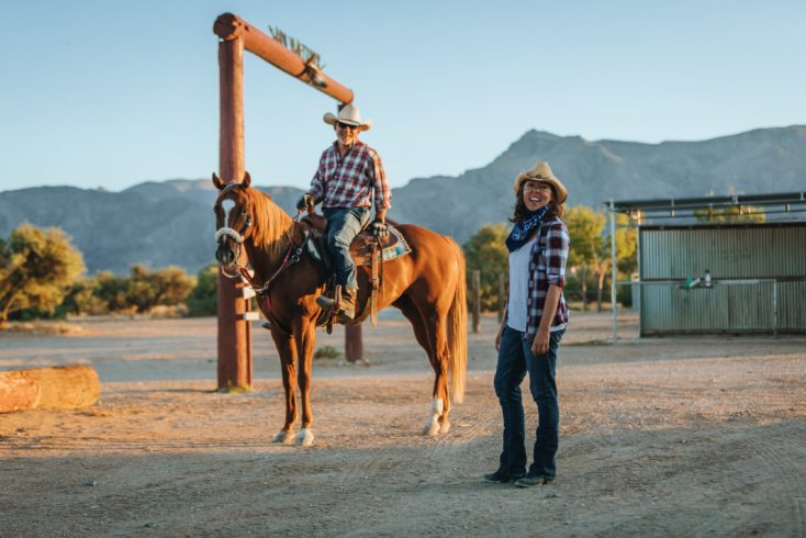 A photo of Rob and Sandi on their ranch.