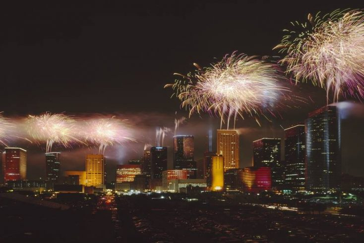 Fireworks light up Houston skyline, Texas