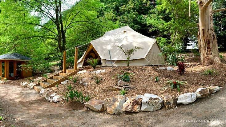 Exterior shot of canvas bell tent, Australia glamping