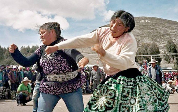 There are some strange traditions around the world for New Year. In Peru, they celebrate with a fighting festival!