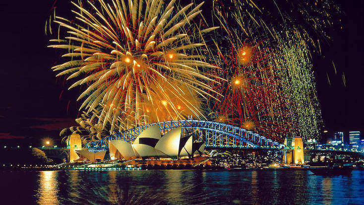 Fireworks over the harbour in Sydney. New Year's  Eve down under. Are there many better things to do on New Year's Eve?