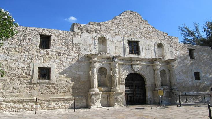 A photo of the facade of a building in the Alamo