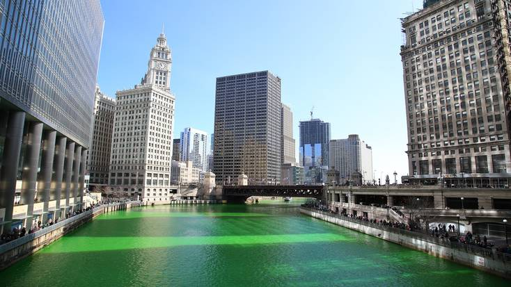 The Chicago River gets dyed green every year