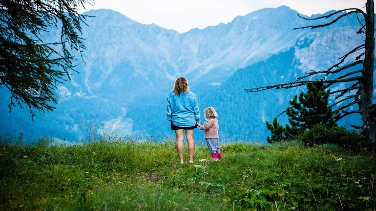 Mother and daughter glamping during Presidents' Day Weekend in the mountains