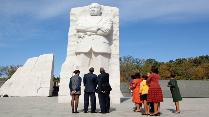 President Obama visiting the MLK Monument with his family