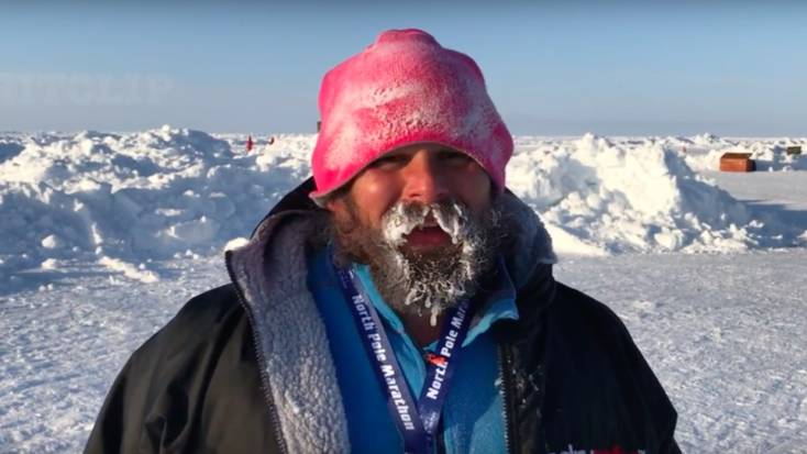 A competitor after the North Pole Marathon