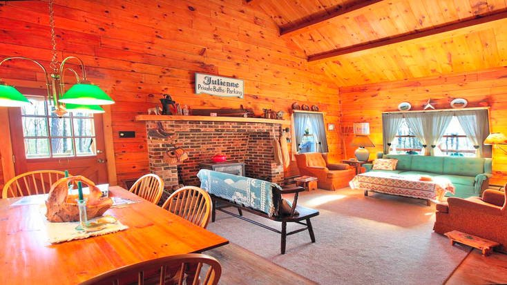 The rustic interior of one of our Pocono cabin rentals