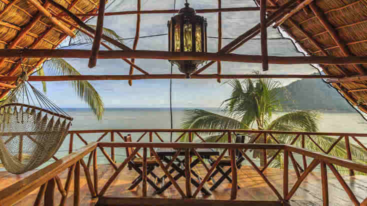 A view of the ocean from a luxury tree house near Puerto Vallarta