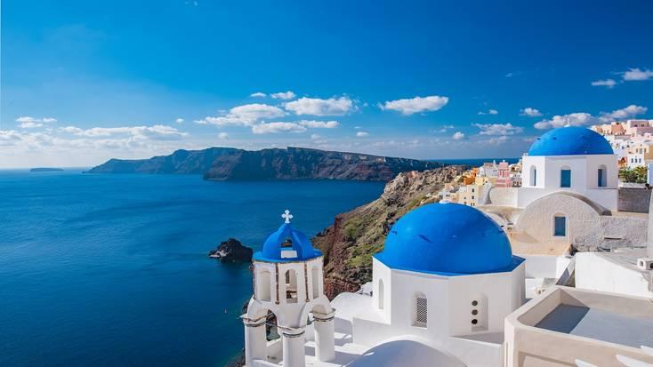 Enjoy a romantic getaway on Santorini.