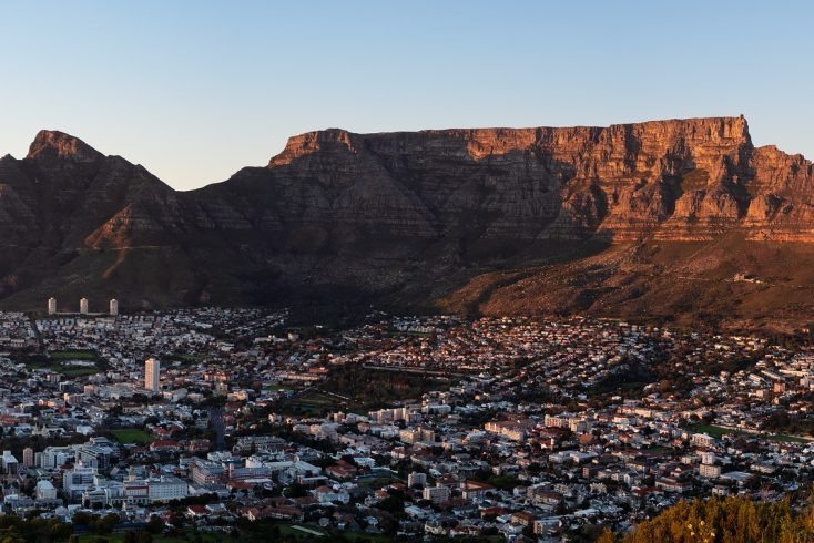 A view of Table Mountain in Cape Town, South Africa