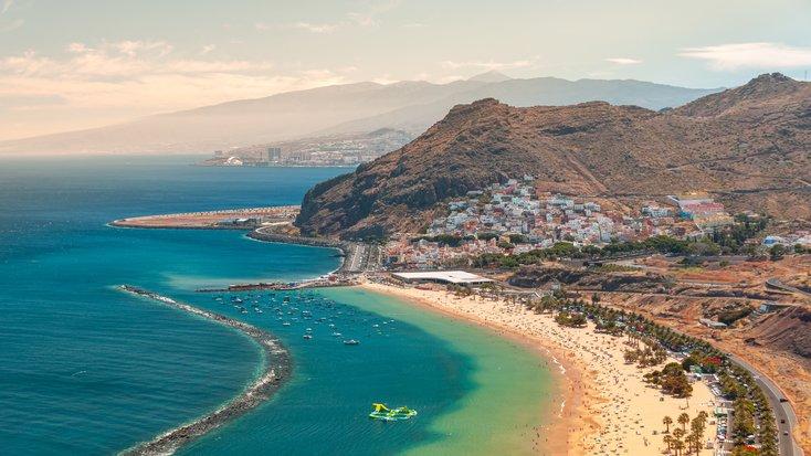 Honeymoon destinations showing a stunning beach in Tenerife, Spain
