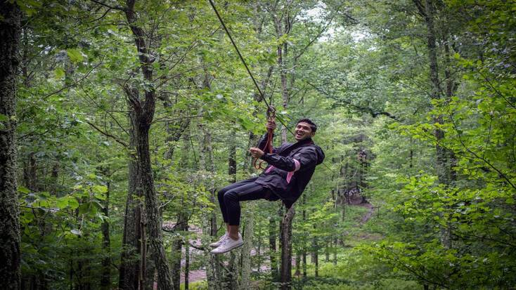 Zip lines are among the things to do in the Poconos