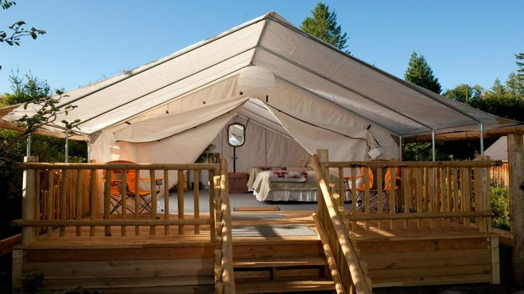 Luxury safari tent on a dude ranch, Wyoming.