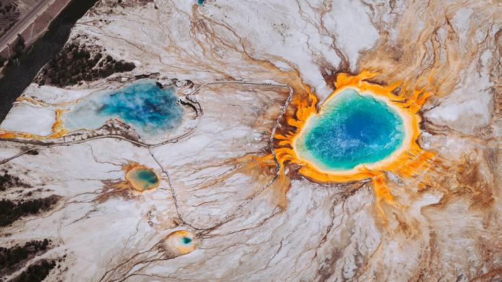 Aerial view of the Grand Prismatic Spring, one of the best things to do in Yellowstone.
