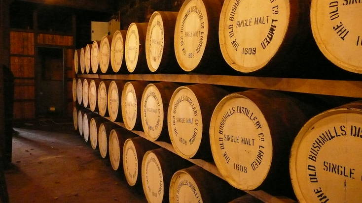 Barrels of Bushmills whiskey in County Antrim