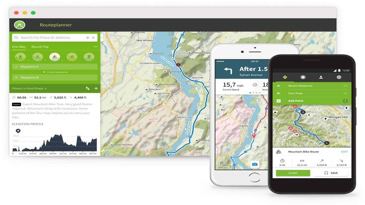 Komoot, one of the best hiking apps 2020
