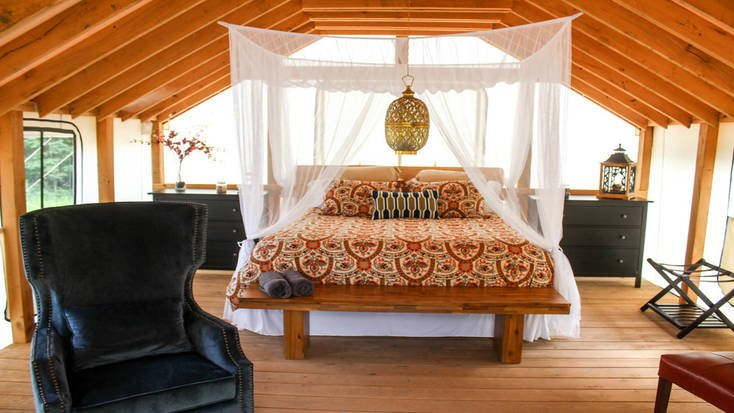 A yoga retreat in New York in a safari tent rental