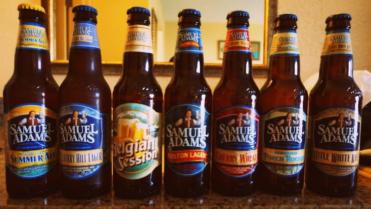 A selection of Samule Adams bottled beer