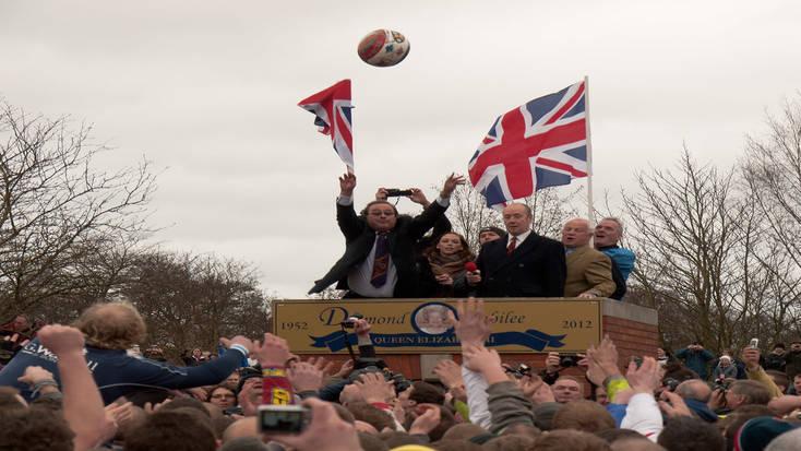 The annual Shrovetide football game in Ashbourne, Derbyshire, gets underway