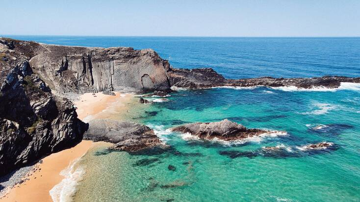A view over a beach in the Alentejo region of the Costa Vincentina