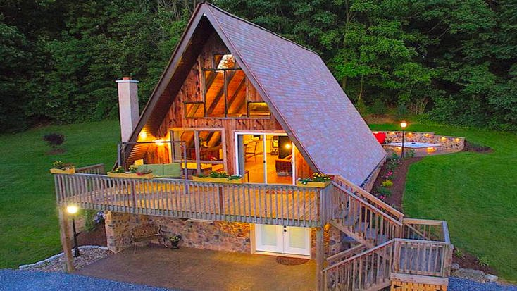 Stay in one of our amazing cabins in Pennsylvania like this fantastic A-frame cabin