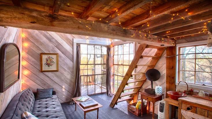 The cozy living area under the mezzanine
