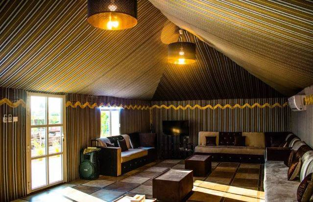 The interior of one of our luxury tents in Dubai
