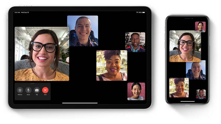 Multiple people using the facetime video chat app