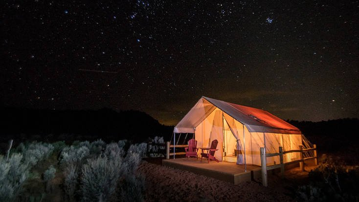 Stay in a luxury safari tent in Utah for you cycling adventure