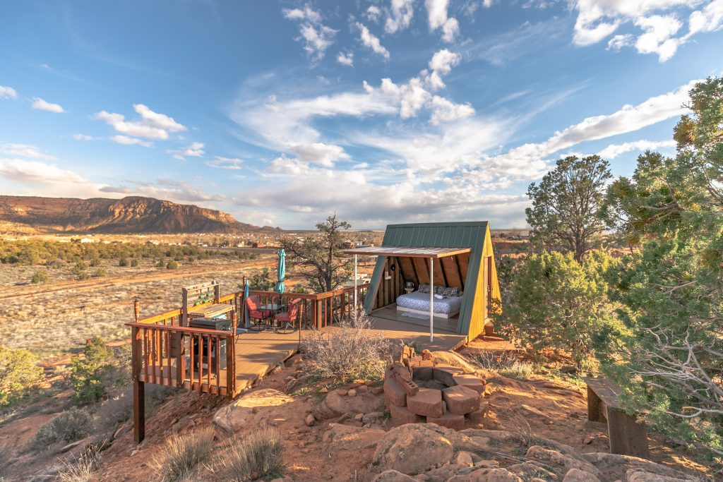 Book summer vacation at this Romantic A-Frame Cabin Rental near Zion National Park and Hurricane, Utah